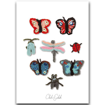 Postcard crocheted insects red